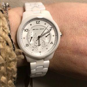 Authentic Michael Kors white ceramic runway watch